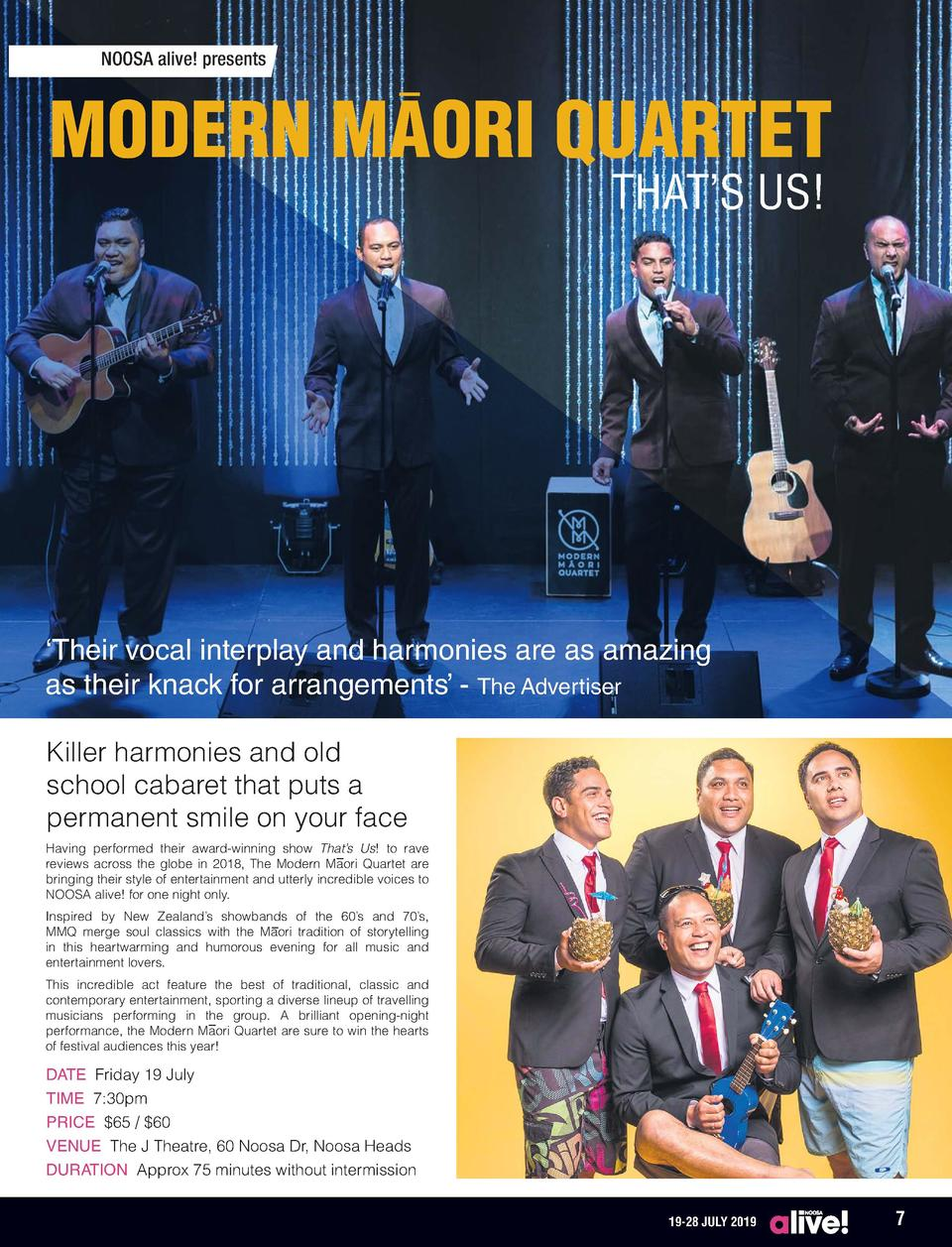 NOOSA alive  presents  MODERN MAORI QUARTET THAT   S US      Their vocal interplay and harmonies are as amazing as their k...
