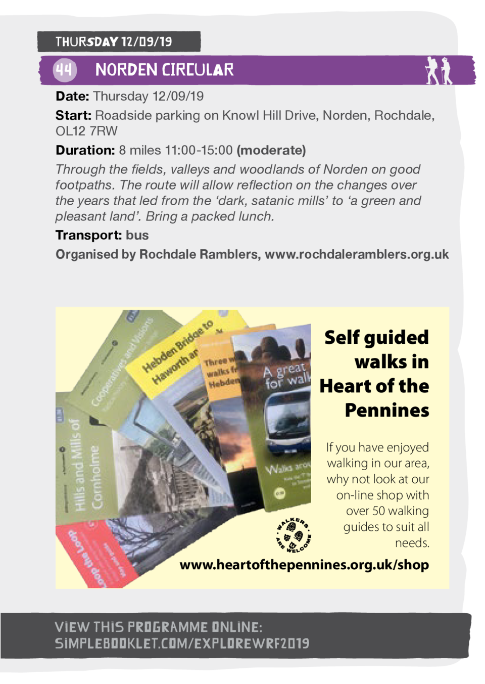 Thursday 12 09 19  44  Norden Circular Date  Thursday 12 09 19 Start  Roadside parking on Knowl Hill Drive, Norden, Rochda...