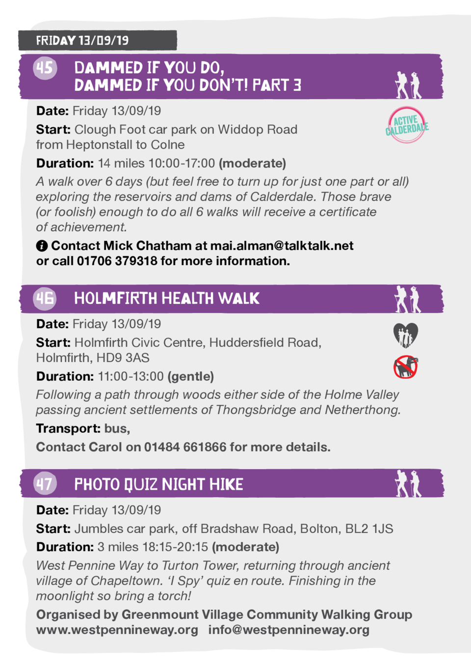Friday 13 09 19  45  Dammed if you do,   dammed if you don   t  Part 3 Date  Friday 13 09 19 Start  Clough Foot car park o...