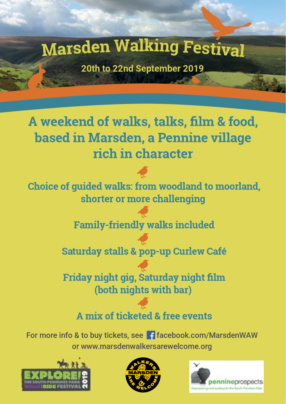 Marsden Walking Festival 20th to 22nd September 2019  A weekend of walks, talks,    lm   food, based in Marsden, a Pennine...