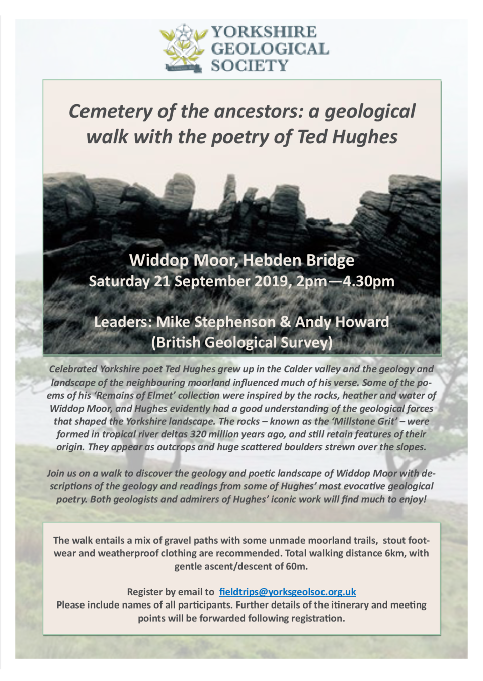 Cemetery of the ancestors  a geological walk with the poetry of Ted Hughes     Widdop Moor, Hebden Bridge   Saturday 21...