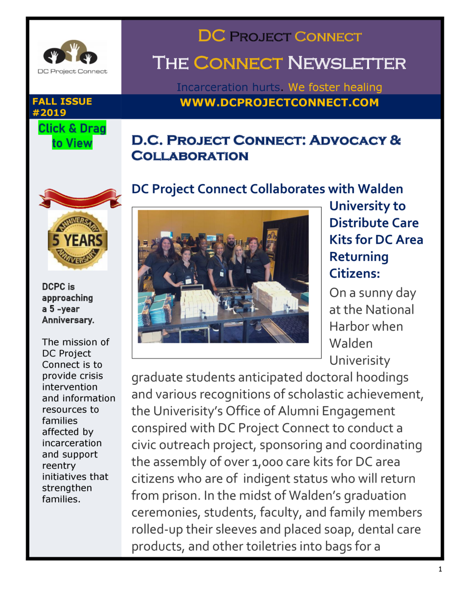 DC Project Connect  The Connect Newsletter FALL ISSUE  2019  Click   Drag to View  DCPC is approaching a 5 -year Anniversa...