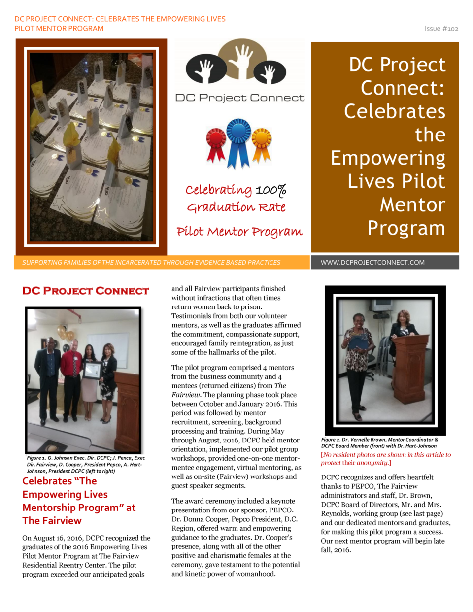 DC PROJECT CONNECT  CELEBRATES THE EMPOWERING LIVES PILOT MENTOR PROGRAM  Celebrating 100  Graduation Rate Pilot Mentor Pr...