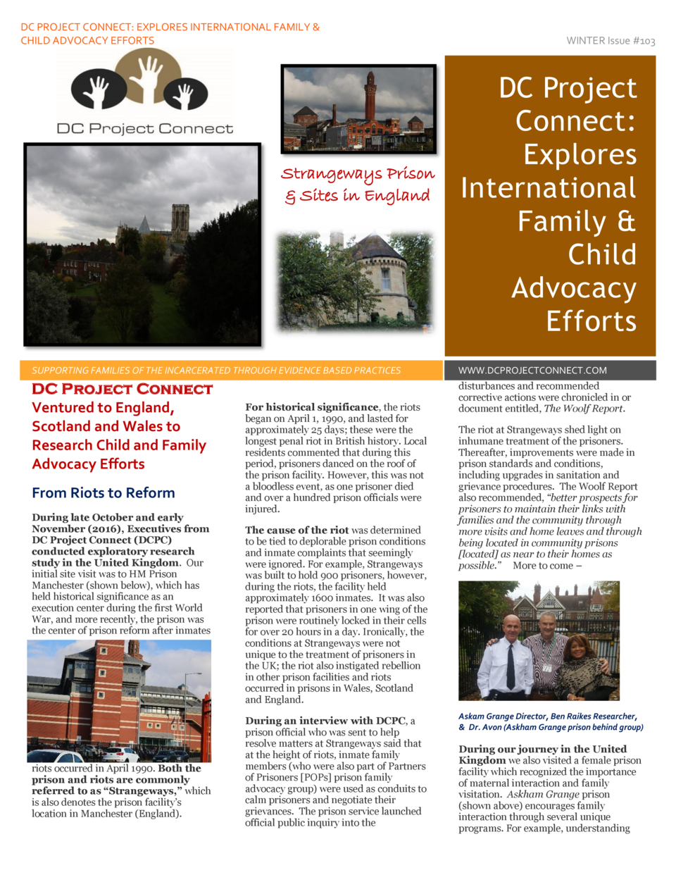 DC PROJECT CONNECT  EXPLORES INTERNATIONAL FAMILY   CHILD ADVOCACY EFFORTS  Strangeways Prison   Sites in England  WINTER ...