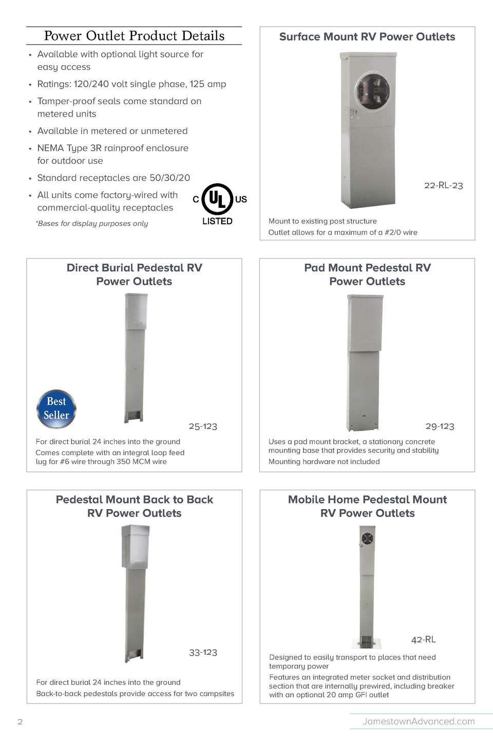 Power Outlet Product Details  Surface Mount RV Power Outlets  Access Door Lighted RV Power Outlets  Retro Kits      Availa...