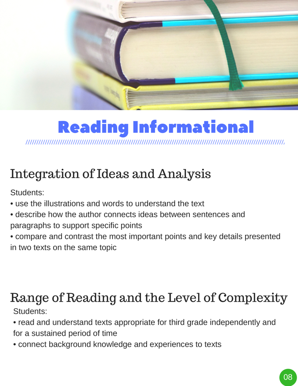 Reading   Informational Integration of Ideas and Analysis Students      use the illustrations and words to understand the ...