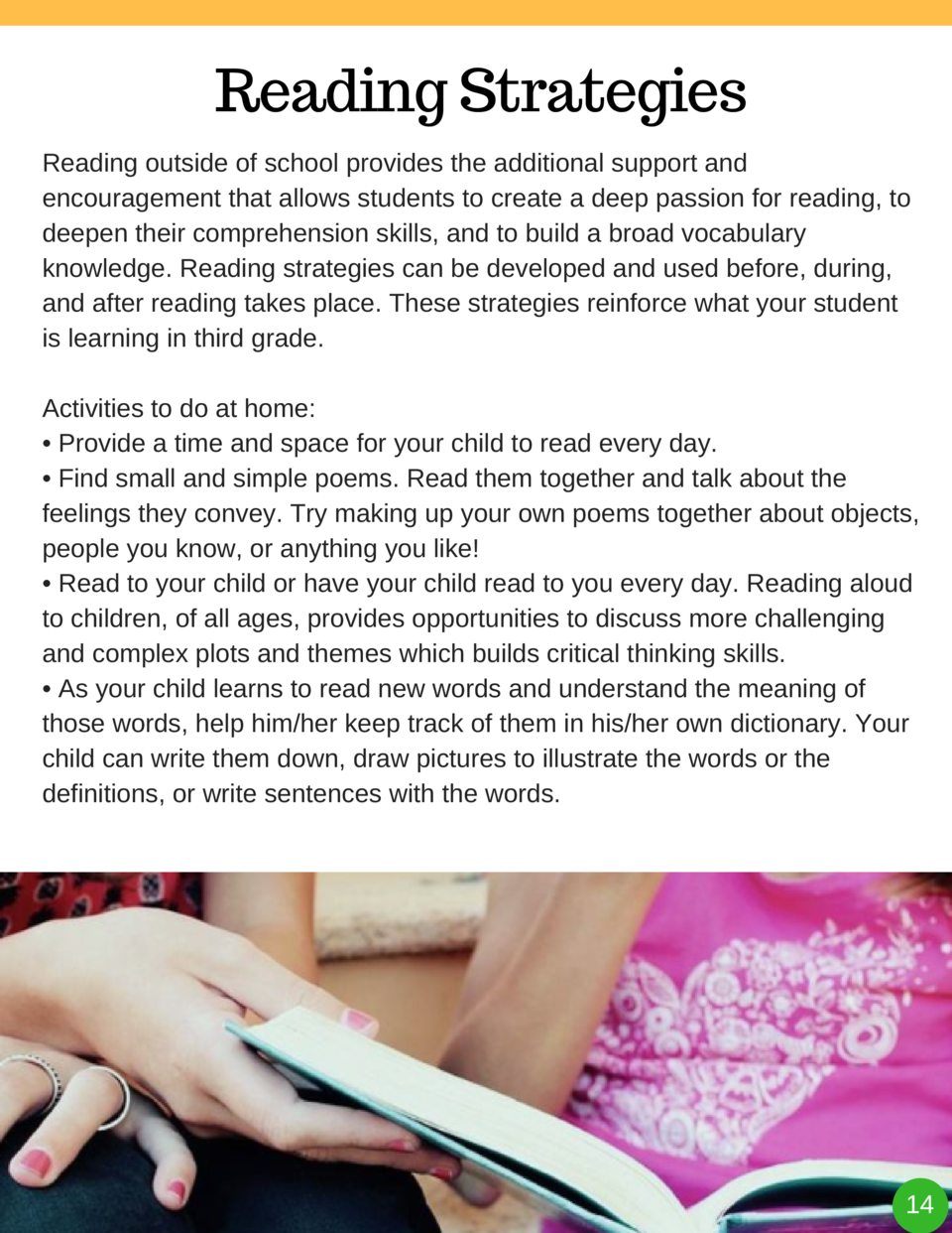 Reading Strategies Reading outside of school provides the additional support and encouragement that allows students to cre...