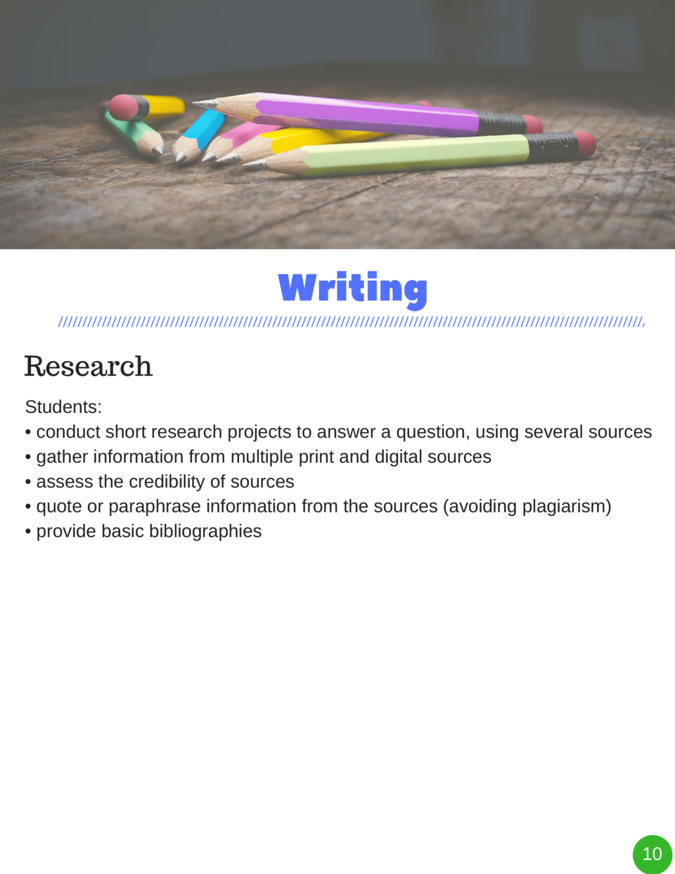 Writing Research Students      conduct short research projects to answer a question, using several sources     gather info...