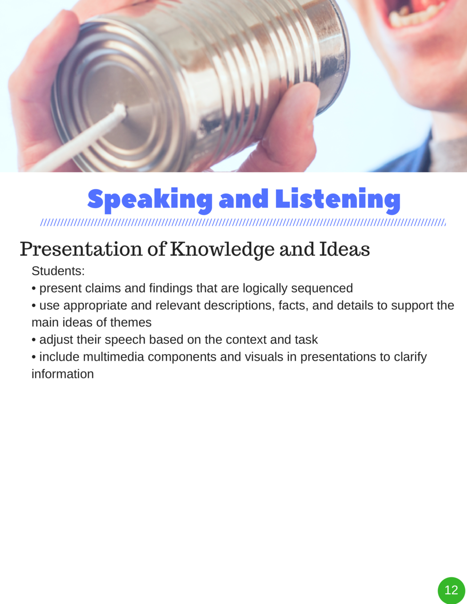 Speaking and Listening Presentation of Knowledge and Ideas Students      present claims and findings that are logically se...