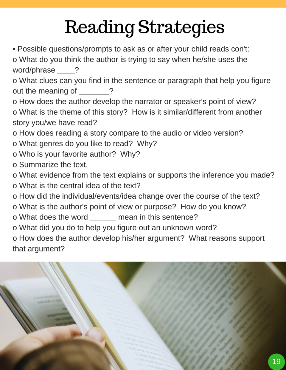 Reading Strategies     Possible questions prompts to ask as or after your child reads con t  o What do you think the autho...