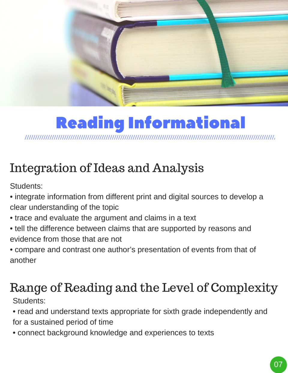 Reading   Informational Integration of Ideas and Analysis Students      integrate information from different print and dig...