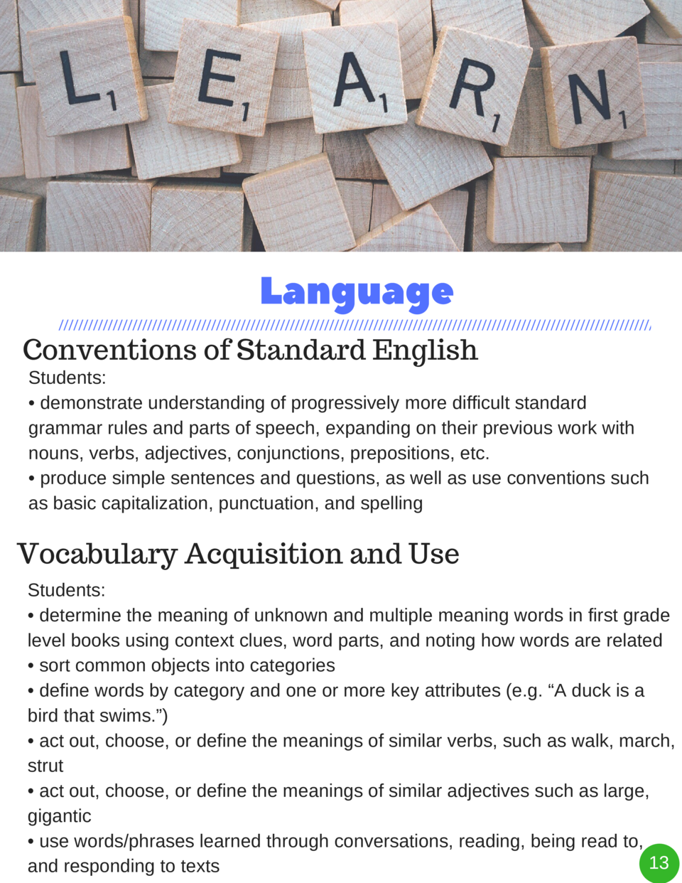 Language Conventions of Standard English  Students      demonstrate understanding of progressively more difficult standard...