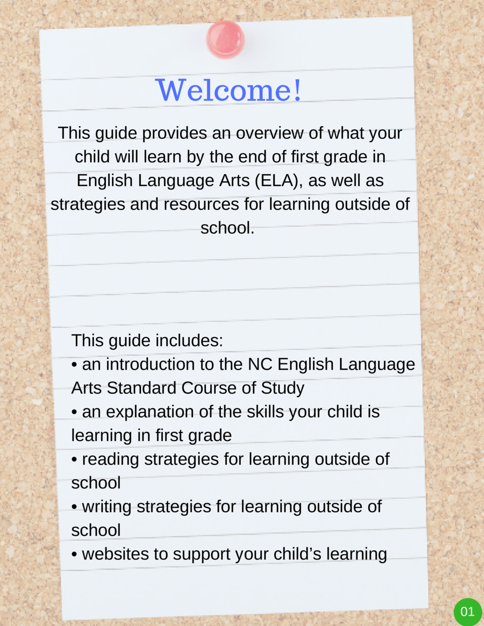 Welcome  This guide provides an overview of what your child will learn by the end of first grade in English Language Arts ...