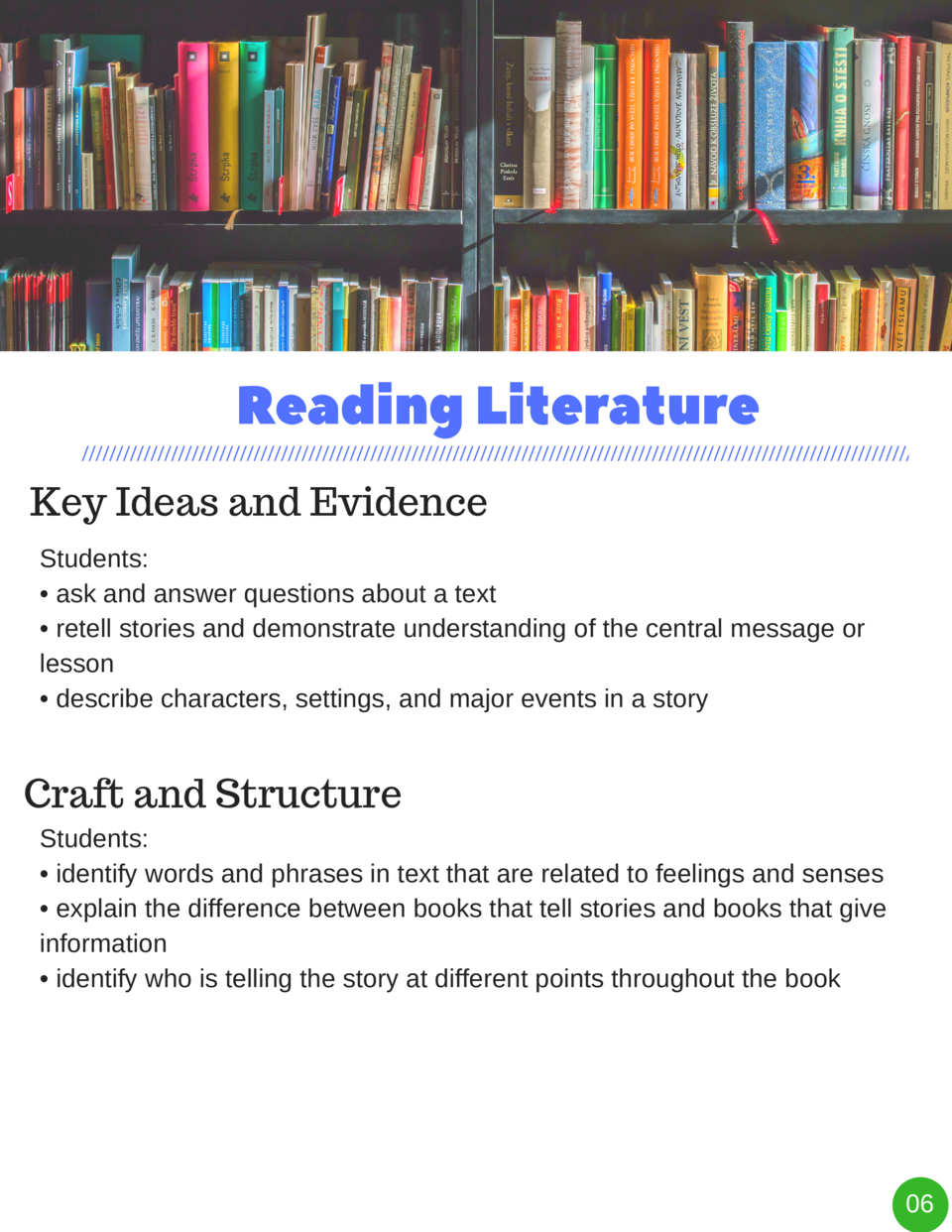 Reading   Literature Key Ideas and Evidence Students      ask and answer questions about a text     retell stories and dem...