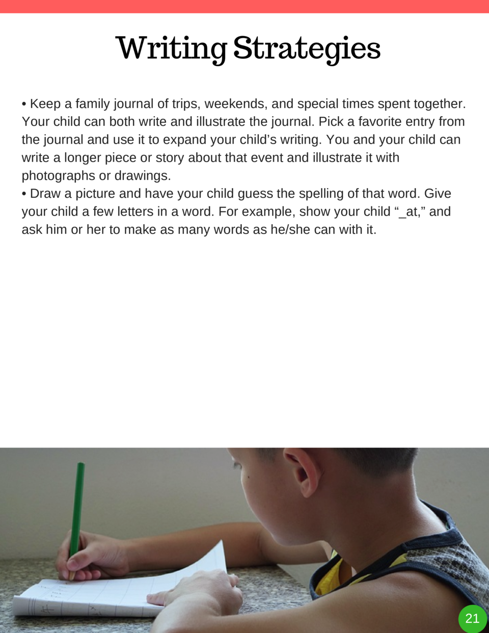 Writing Strategies     Keep a family journal of trips, weekends, and special times spent together. Your child can both wri...