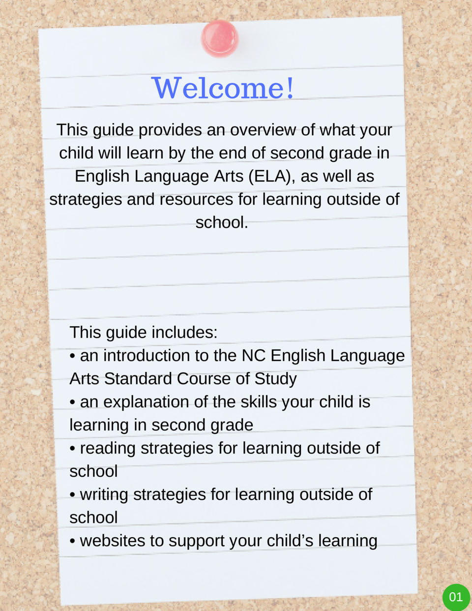 Welcome  This guide provides an overview of what your child will learn by the end of second grade in English Language Arts...