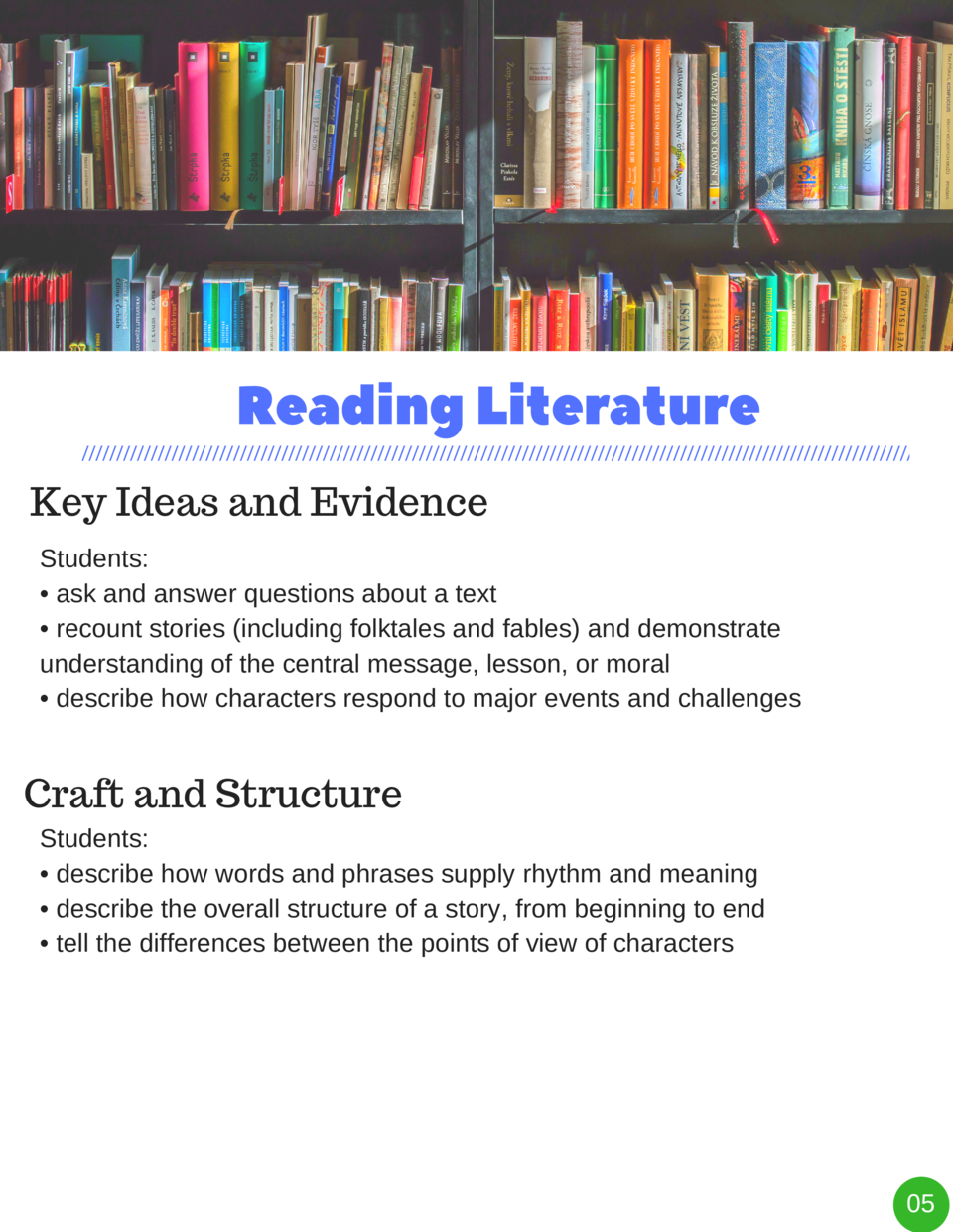 Reading   Literature Key Ideas and Evidence Students      ask and answer questions about a text     recount stories  inclu...