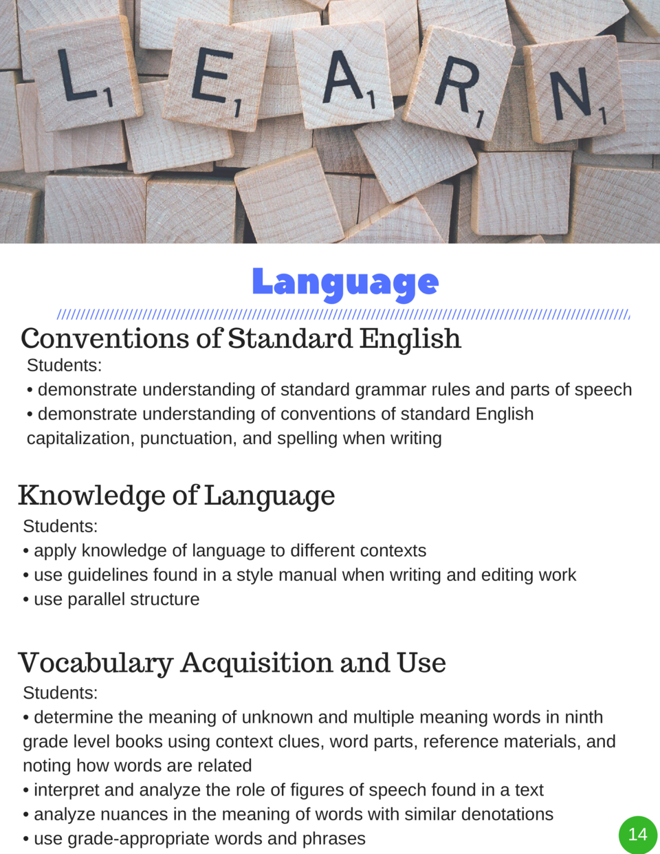 Language Conventions of Standard English  Students      demonstrate understanding of standard grammar rules and parts of s...