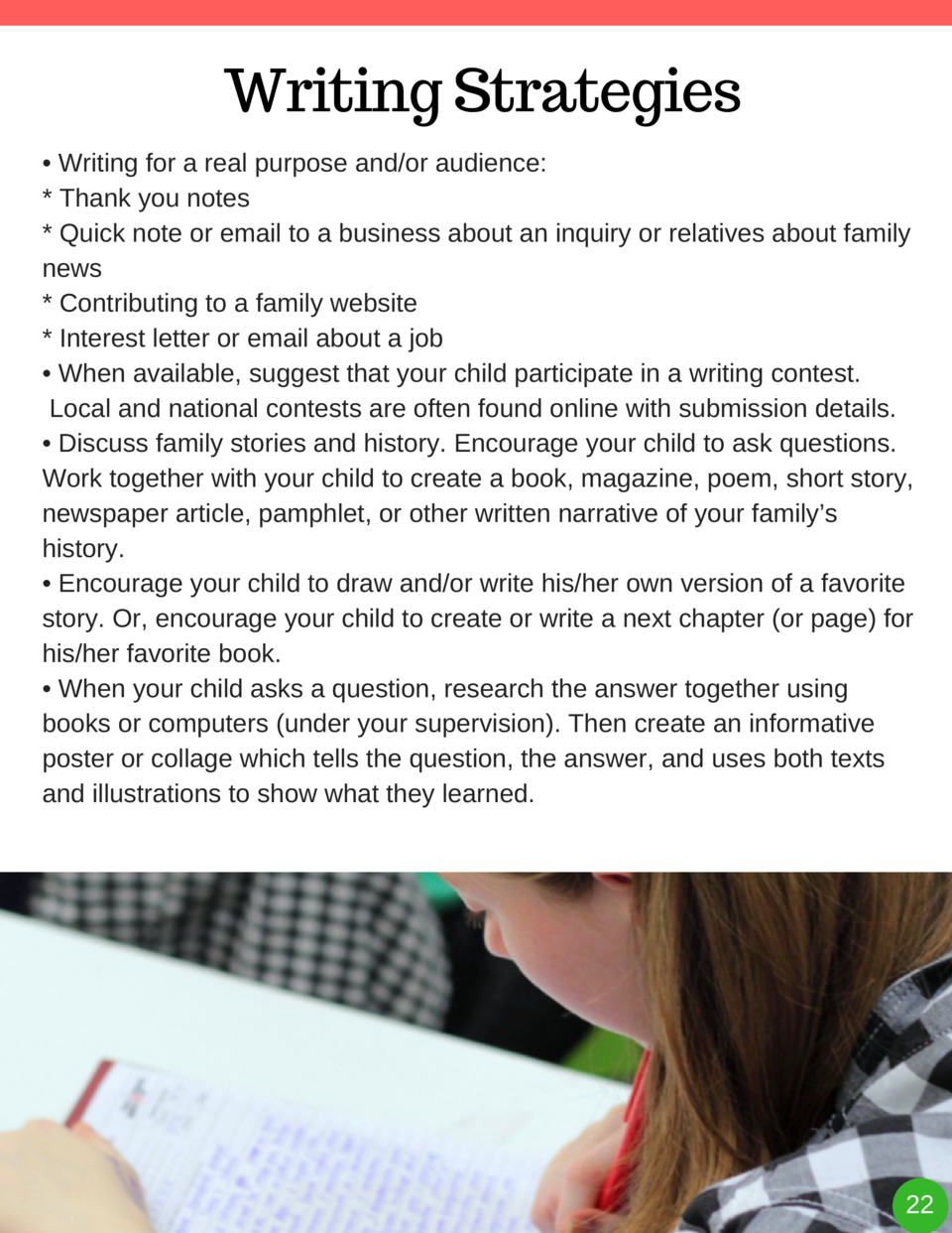 Writing Strategies     Writing for a real purpose and or audience    Thank you notes   Quick note or email to a business a...