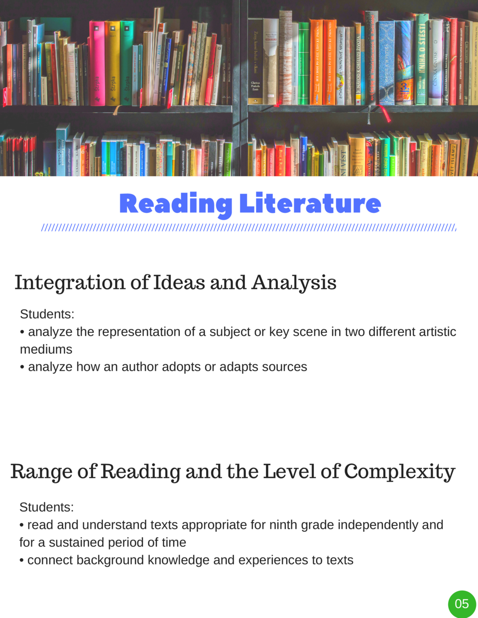 Reading   Literature Integration of Ideas and Analysis Students      analyze the representation of a subject or key scene ...