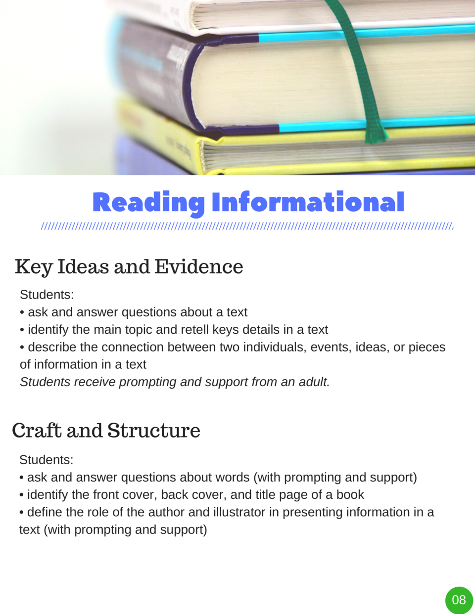 Reading   Informational Key Ideas and Evidence Students      ask and answer questions about a text     identify the main t...
