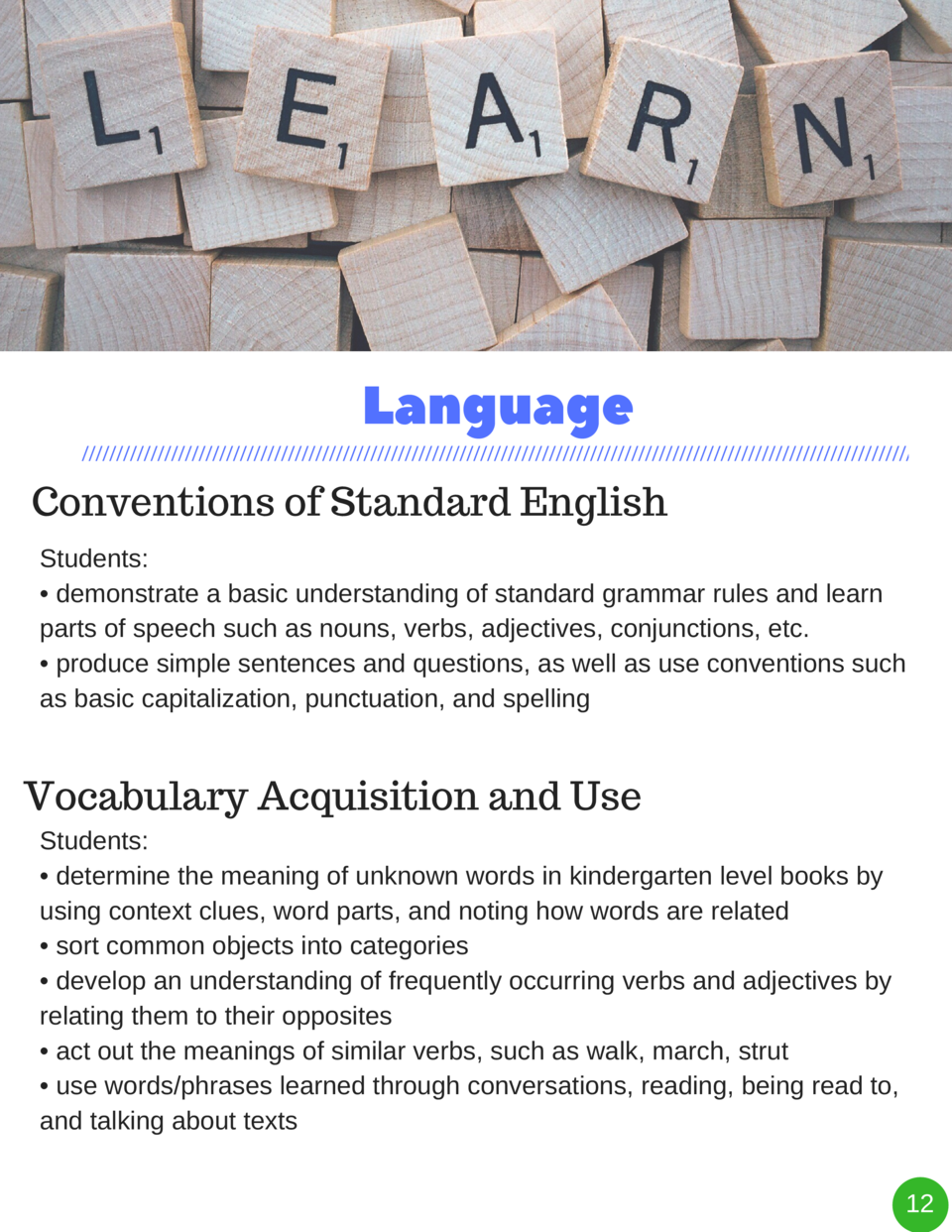 Language Conventions of Standard English Students      demonstrate a basic understanding of standard grammar rules and lea...