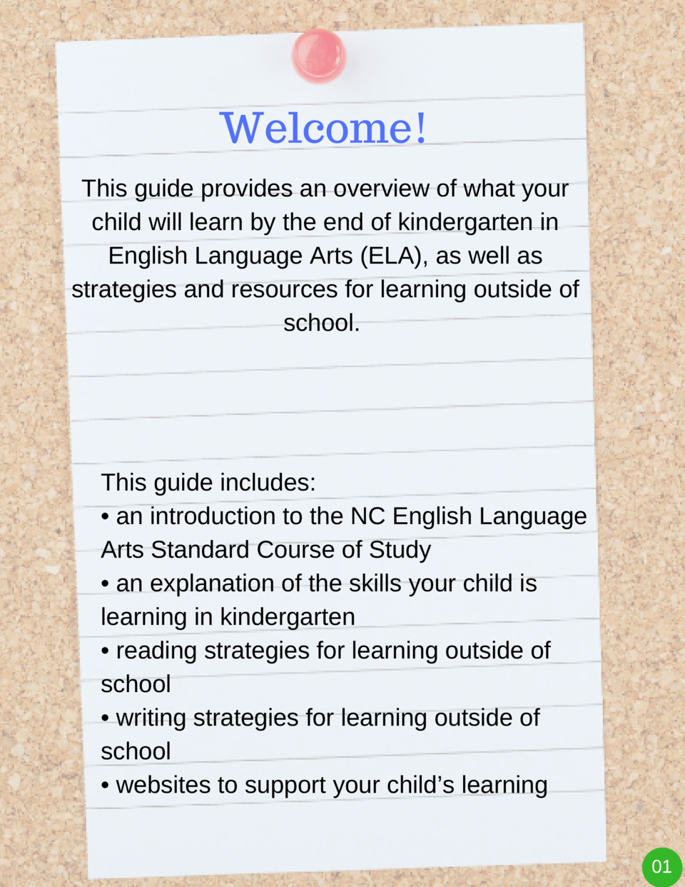 Welcome  This guide provides an overview of what your child will learn by the end of kindergarten in English Language Arts...