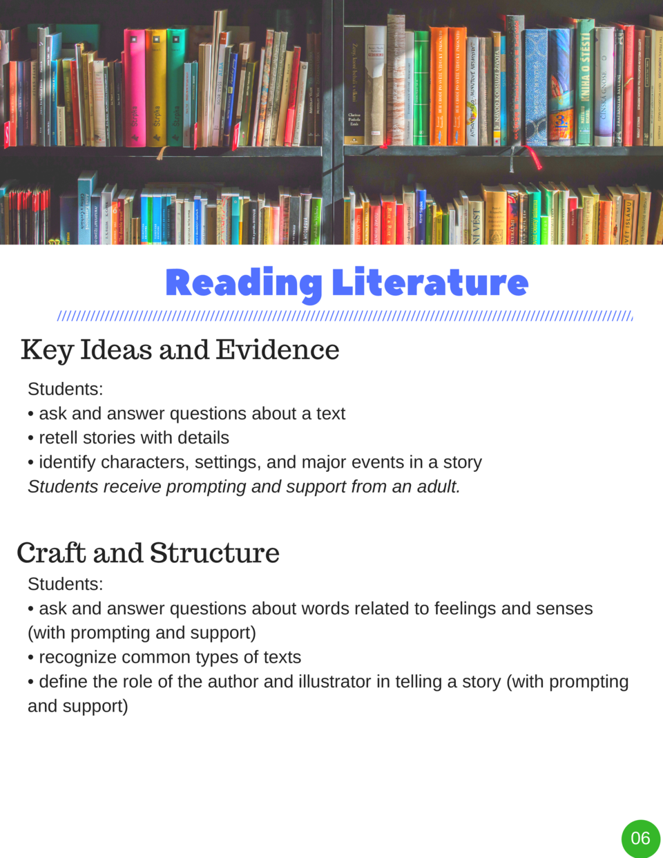 Reading   Literature Key Ideas and Evidence Students      ask and answer questions about a text     retell stories with de...