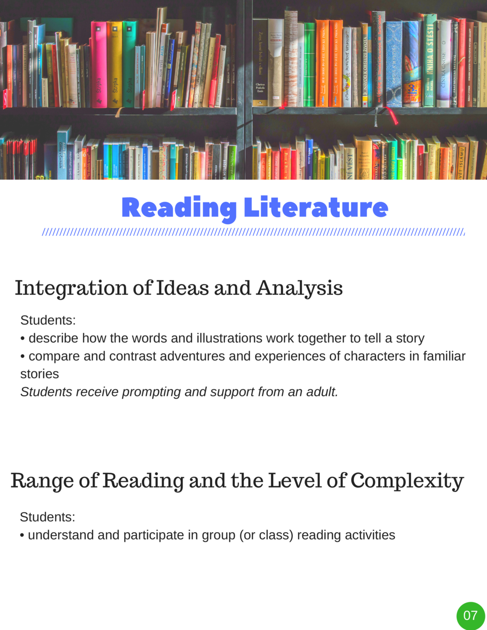 Reading   Literature Integration of Ideas and Analysis Students      describe how the words and illustrations work togethe...