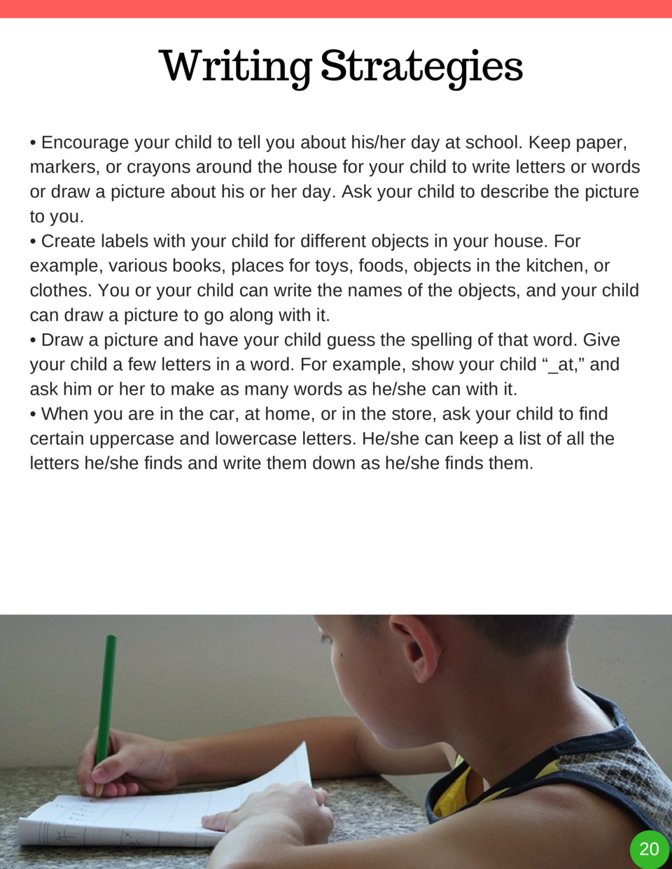 Writing Strategies     Encourage your child to tell you about his her day at school. Keep paper, markers, or crayons aroun...