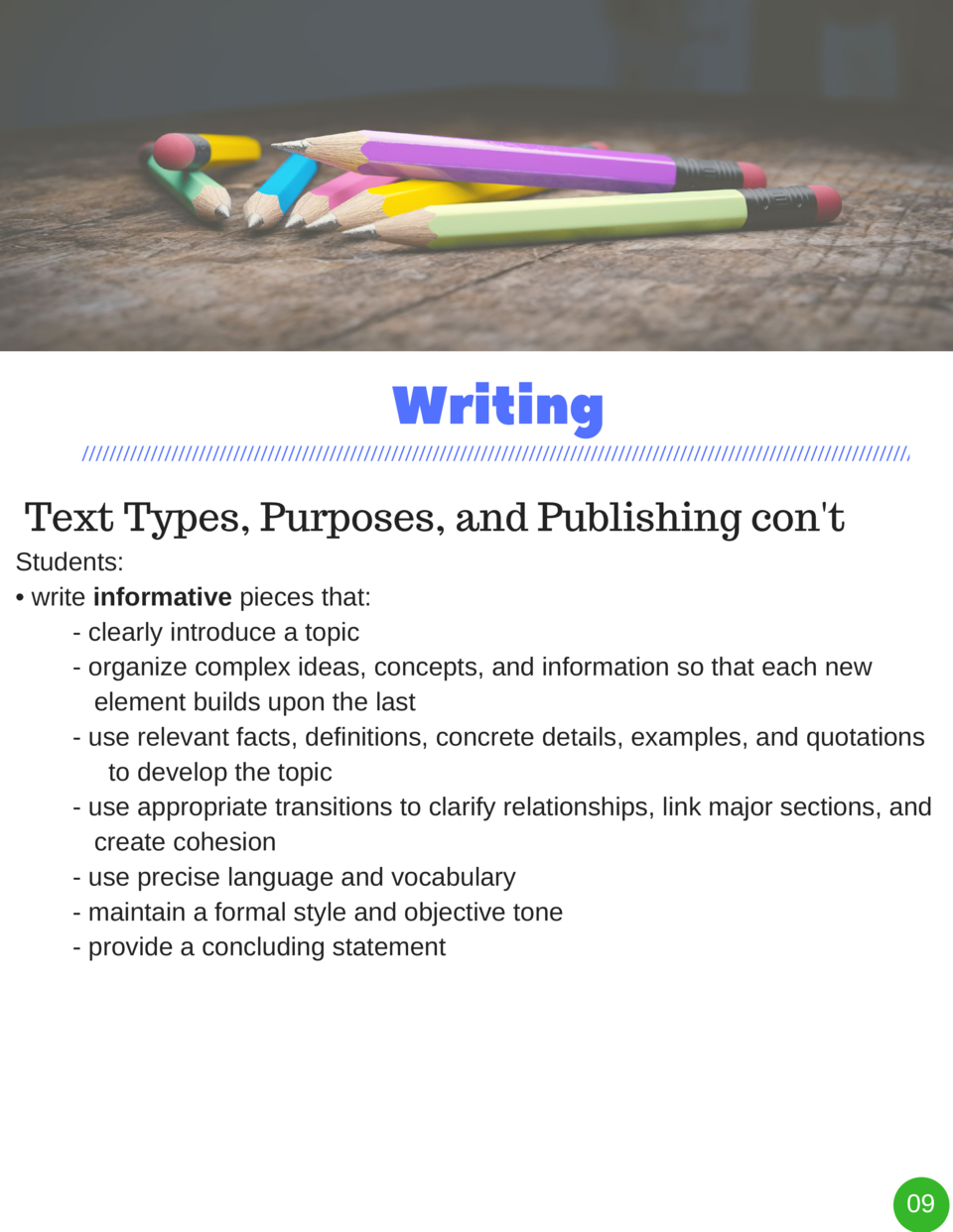 Writing Text Types, Purposes, and Publishing con t Students      write informative pieces that  - clearly introduce a topi...