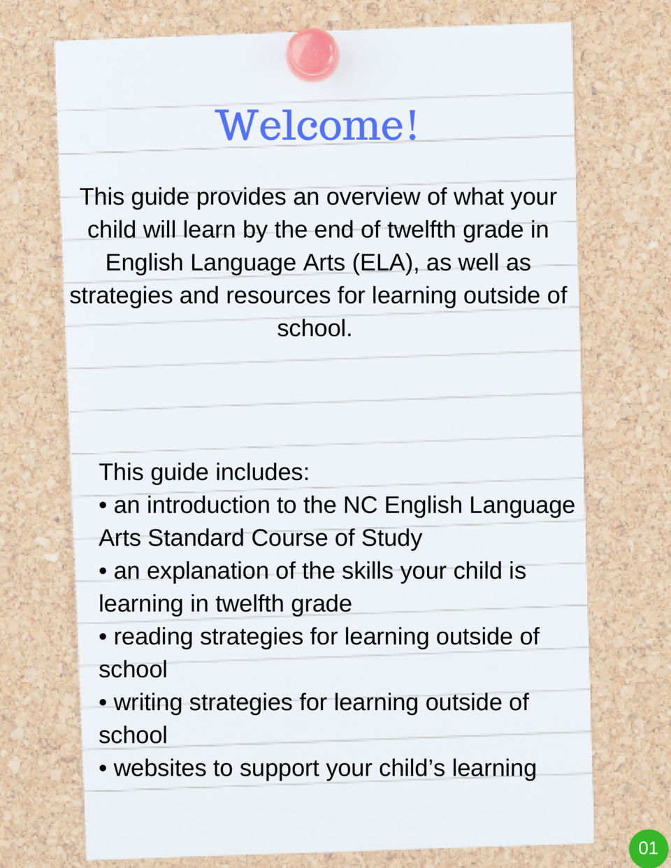 Welcome  This guide provides an overview of what your child will learn by the end of twelfth grade in English Language Art...