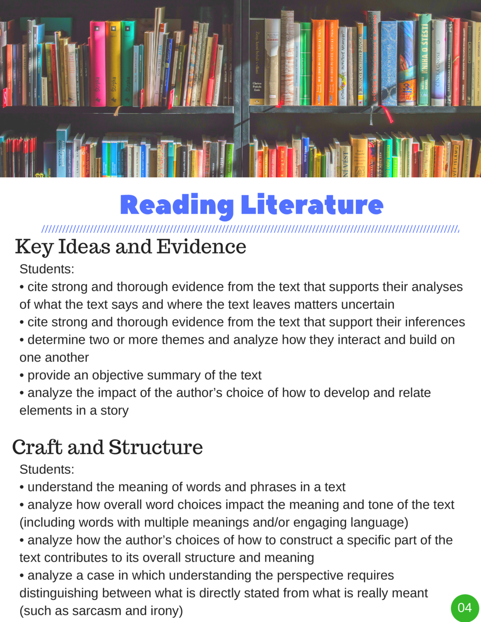Reading   Literature Key Ideas and Evidence Students      cite strong and thorough evidence from the text that supports th...