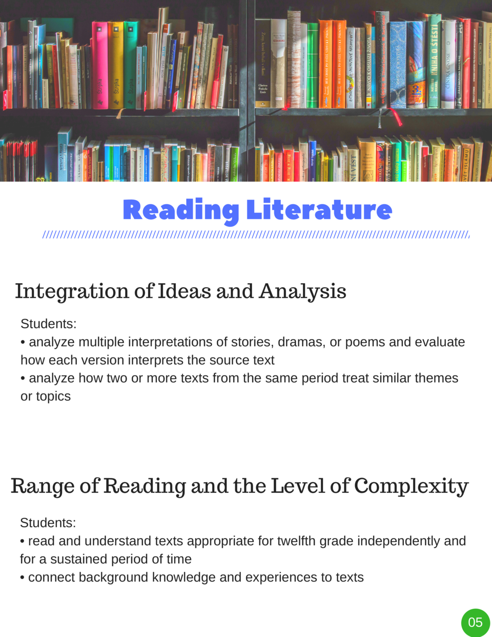 Reading   Literature Integration of Ideas and Analysis Students      analyze multiple interpretations of stories, dramas, ...
