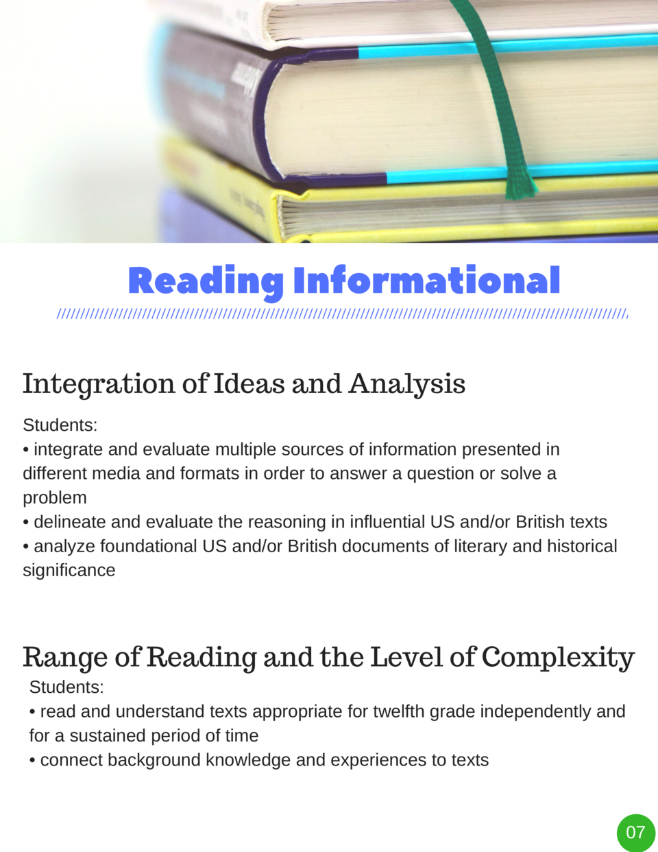 Reading   Informational Integration of Ideas and Analysis Students      integrate and evaluate multiple sources of informa...