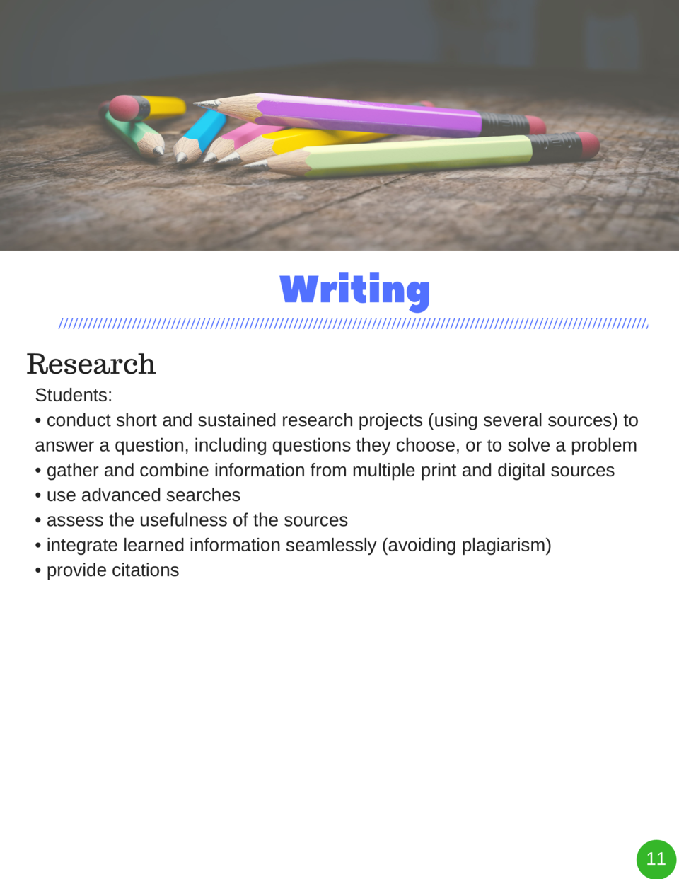 Writing Research Students      conduct short and sustained research projects  using several sources  to answer a question,...