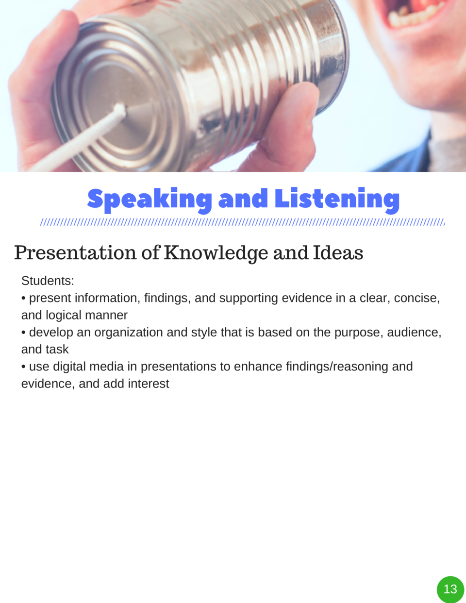 Speaking and Listening Presentation of Knowledge and Ideas Students      present information, findings, and supporting evi...