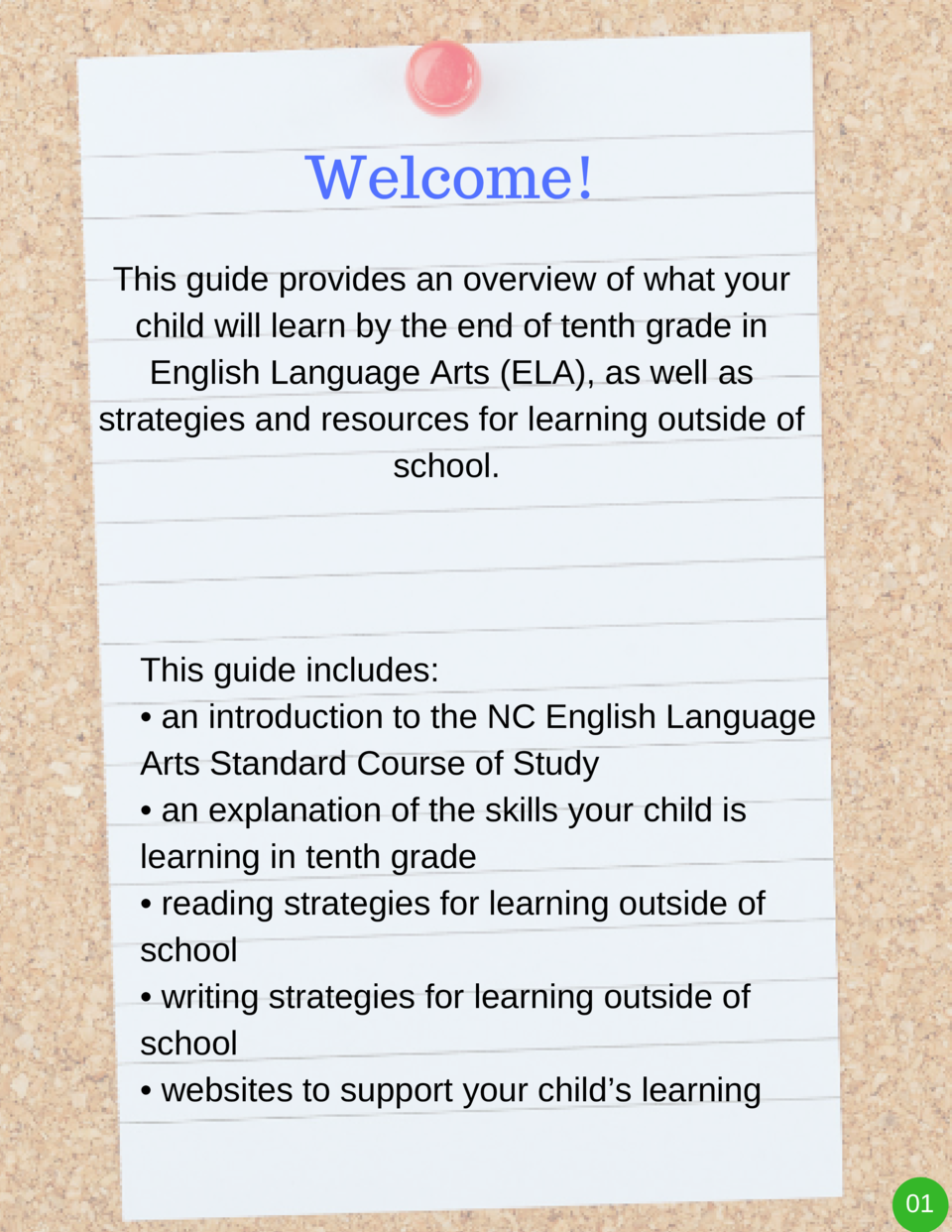 Welcome  This guide provides an overview of what your child will learn by the end of tenth grade in English Language Arts ...