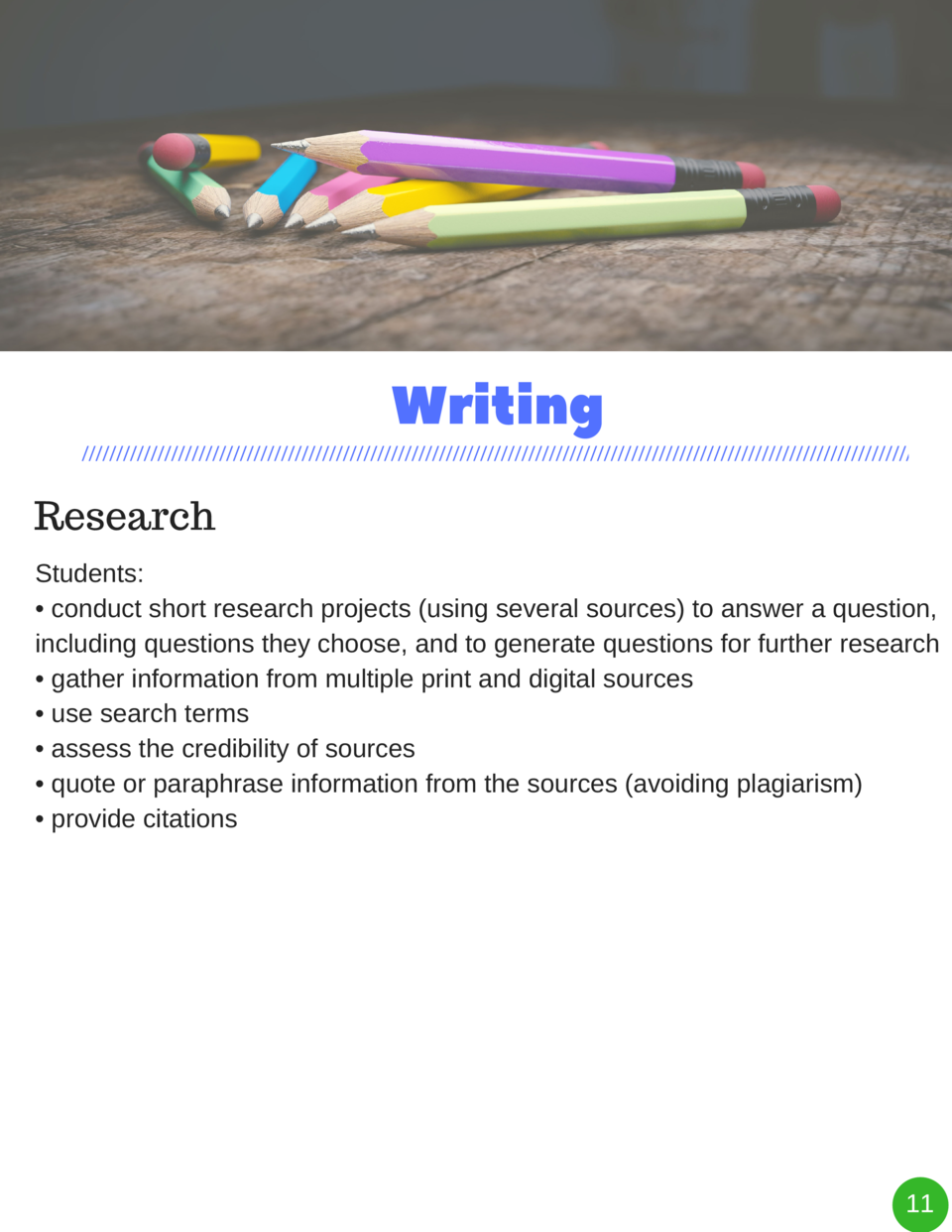 Writing Research Students      conduct short research projects  using several sources  to answer a question, including que...