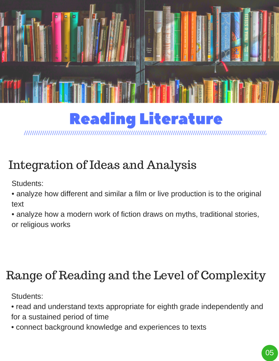 Reading   Literature Integration of Ideas and Analysis Students      analyze how different and similar a film or live prod...