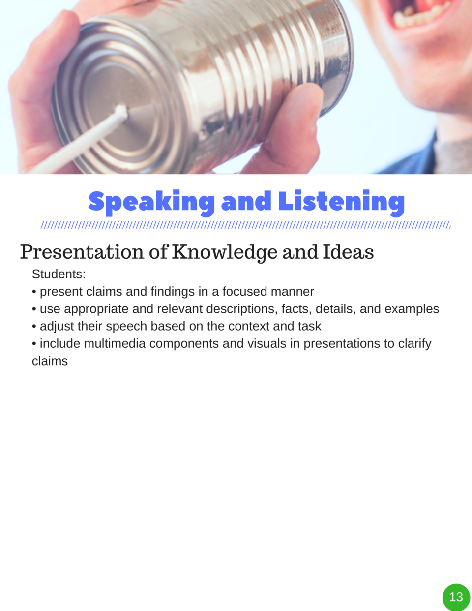 Speaking and Listening Presentation of Knowledge and Ideas Students      present claims and findings in a focused manner  ...
