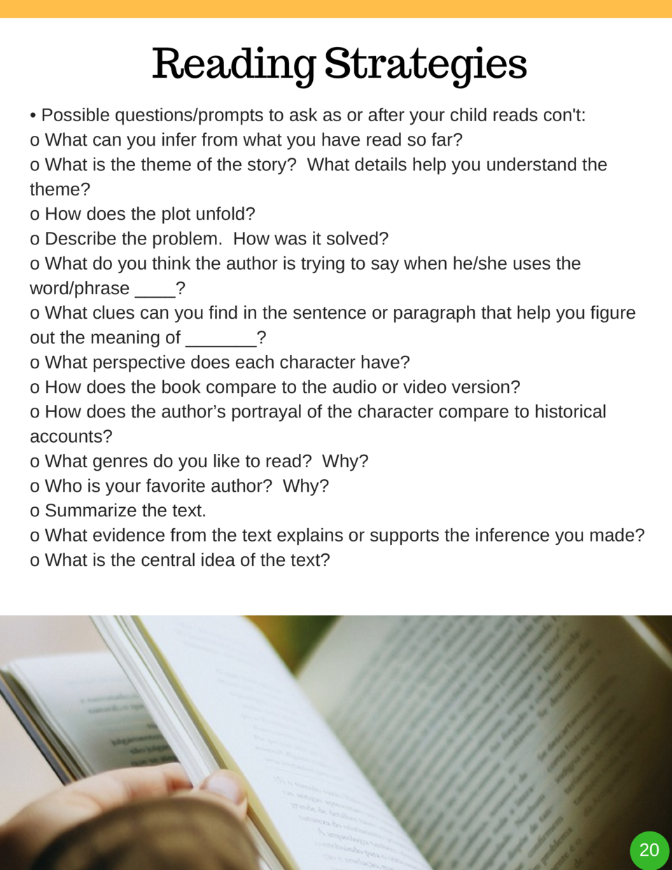 Reading Strategies     Possible questions prompts to ask as or after your child reads con t  o What can you infer from wha...