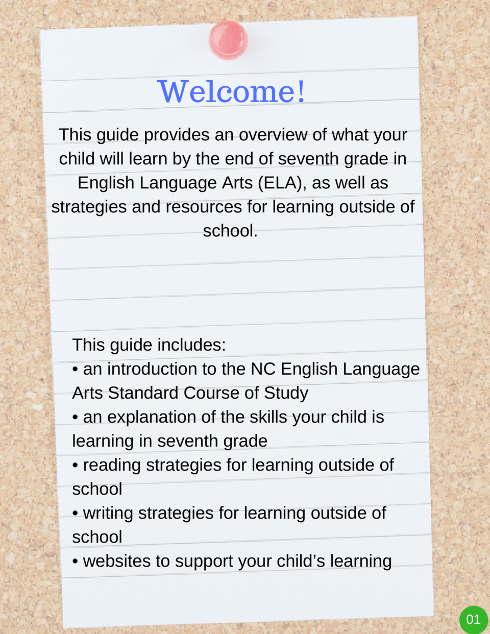 Welcome  This guide provides an overview of what your child will learn by the end of seventh grade in English Language Art...