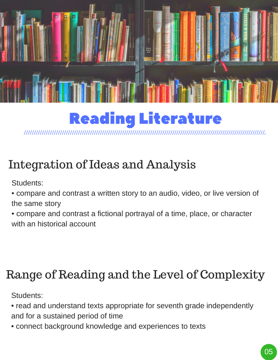 Reading   Literature Integration of Ideas and Analysis Students      compare and contrast a written story to an audio, vid...