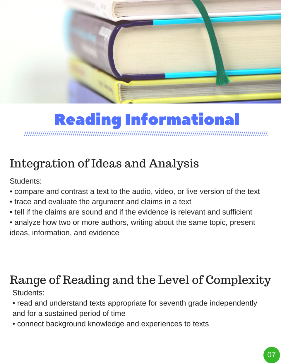 Reading   Informational Integration of Ideas and Analysis Students      compare and contrast a text to the audio, video, o...