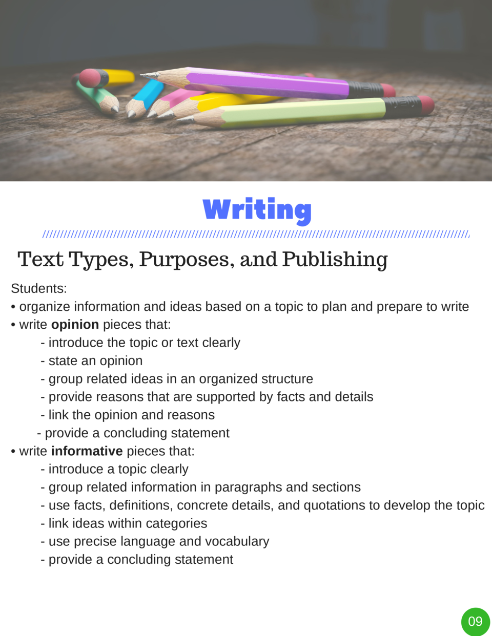 Writing Text Types, Purposes, and Publishing Students      organize information and ideas based on a topic to plan and pre...