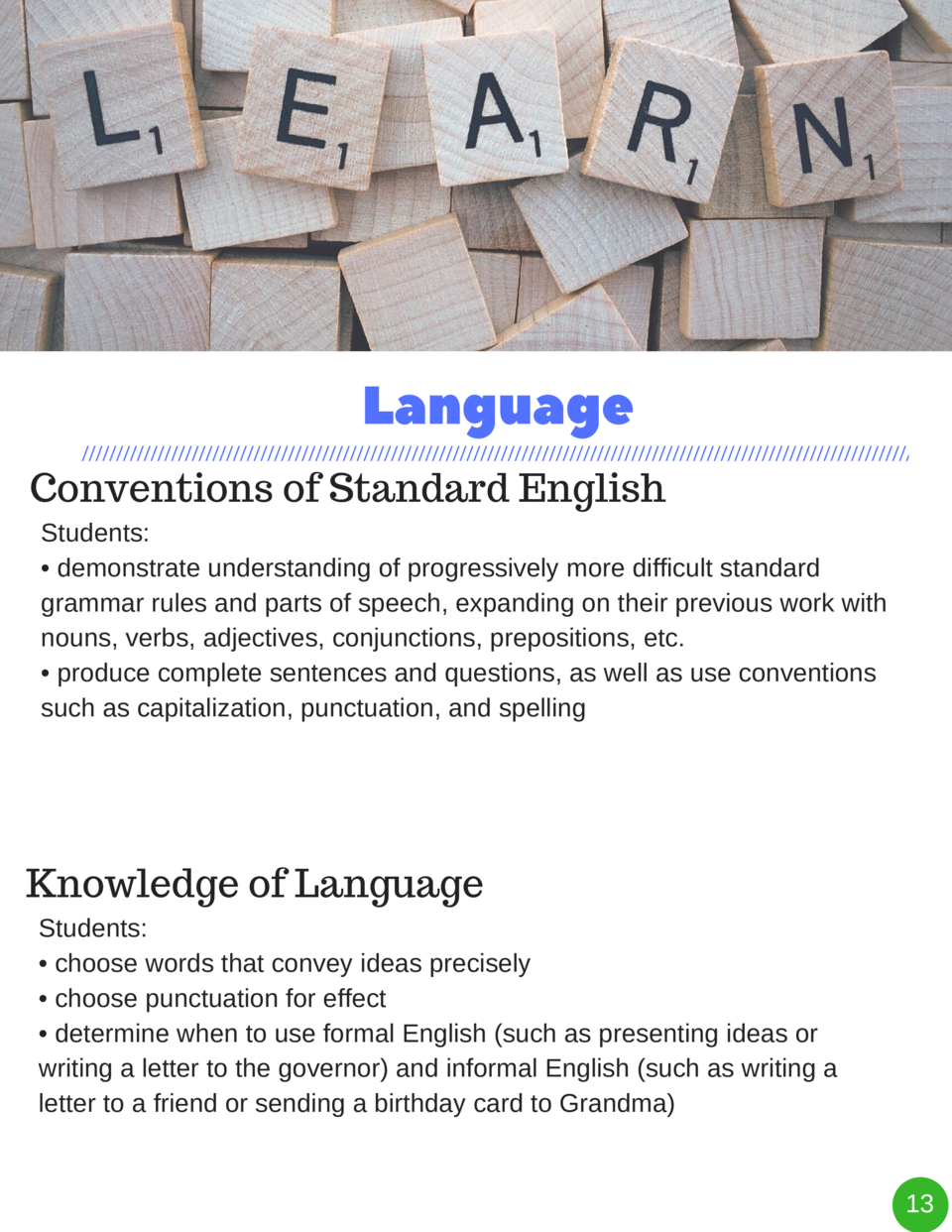 Language Conventions of Standard English Students      demonstrate understanding of progressively more difficult standard ...