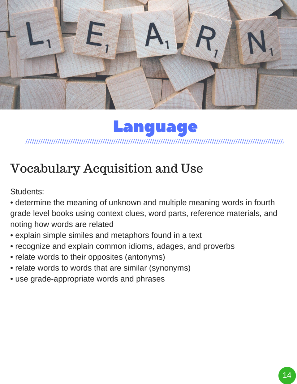 Language Vocabulary Acquisition and Use Students      determine the meaning of unknown and multiple meaning words in fourt...