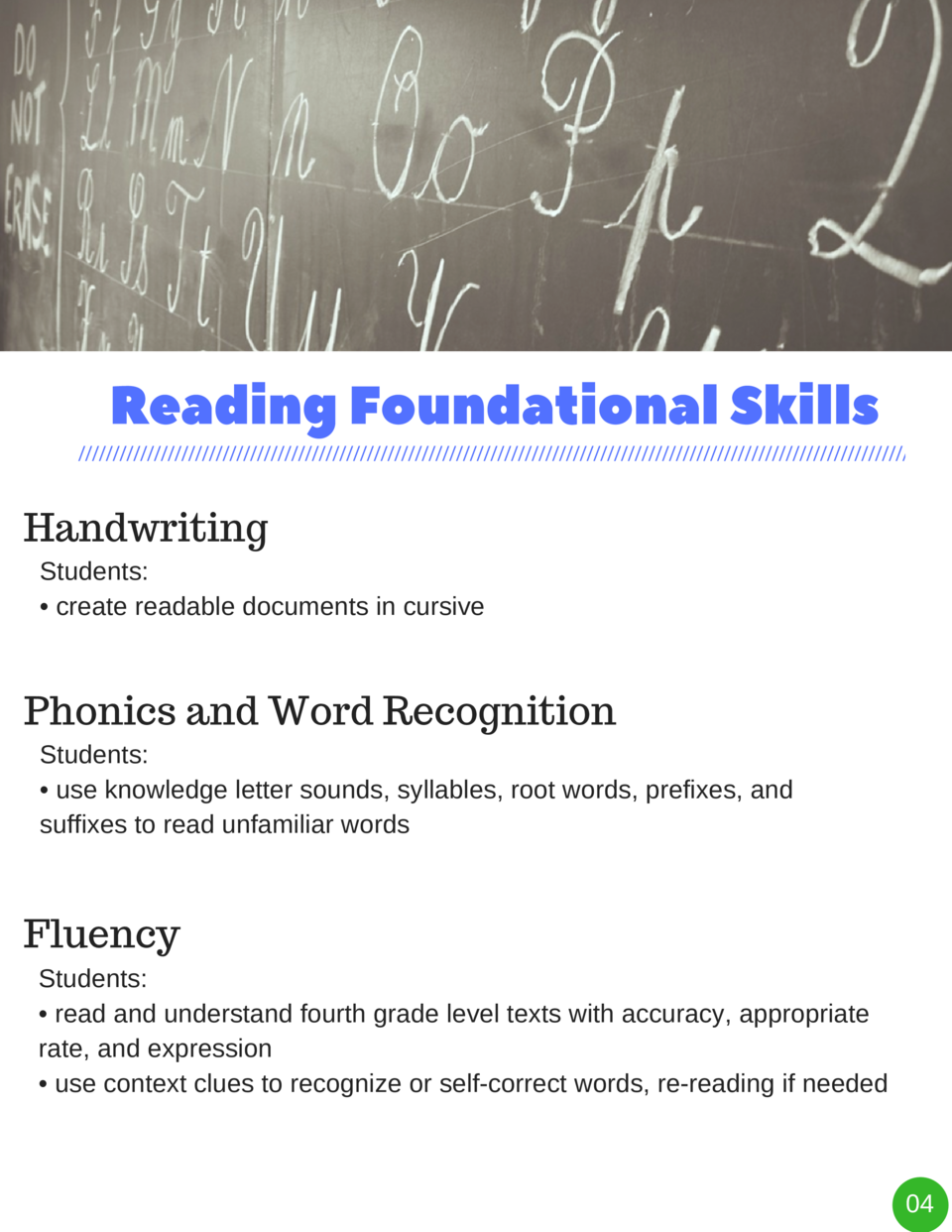 Reading Foundational Skills Handwriting Students      create readable documents in cursive  Phonics and Word Recognition S...