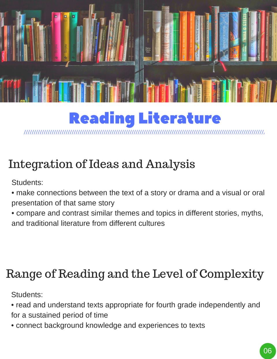 Reading   Literature Integration of Ideas and Analysis Students      make connections between the text of a story or drama...
